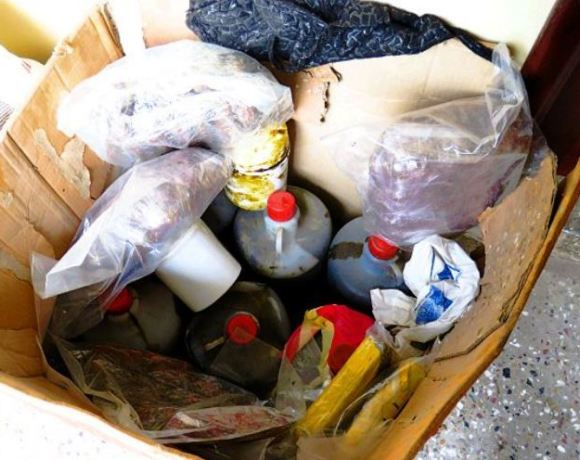 The harshish oil in gallons and plastic containers ready for shipment