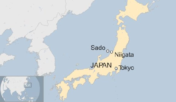 The high-speed hydrofoil ship was en route to Sado Island from the port of Niigata