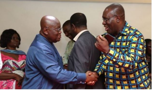 Dr Yaw Baah [R] TUC boss exchanging pleasantries with President Nana Akufo-Addo [L]