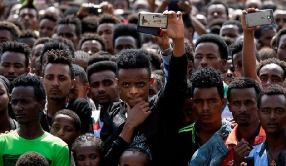 Ethiopians attending a political rally after reformist Prime Minister Abiy Ahmed came to power