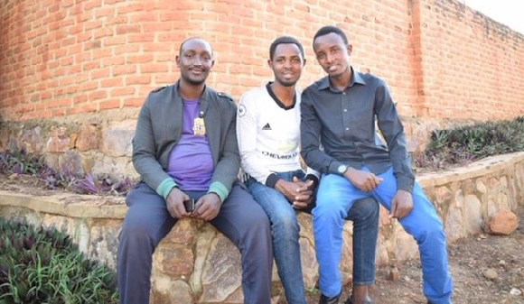 Jean Paul,(L), Ibrahim (C) and Oswald(R) determined to support each other & other genocide orphans