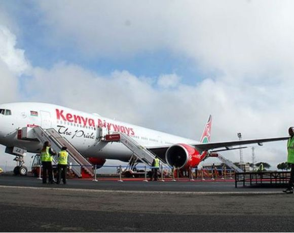 Kenya Airways plane at JKIA