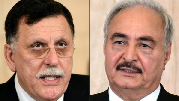 Libya's Prime Minister (L) has vowed to defend Tripoli from Khalifa Haftar's forces