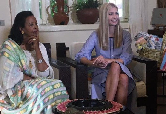 Ms Trump (R) with Sara Abera who founded clothing company Muya Ethiopia 16 years ago