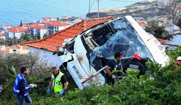 The bus appeared to have rolled down a hillside