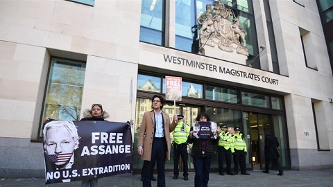 Assange was arrested by UK police at the Ecuadorian embassy on April 11