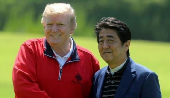 Japan's Prime Minister Shinzo Abe played a round of golf with US President Donald Trump