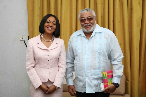 Former President Jerry John Rawlings and the EC Chairperson, Jean Mensa