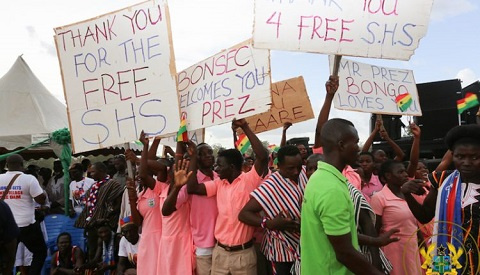 Free SHS Students wield placards