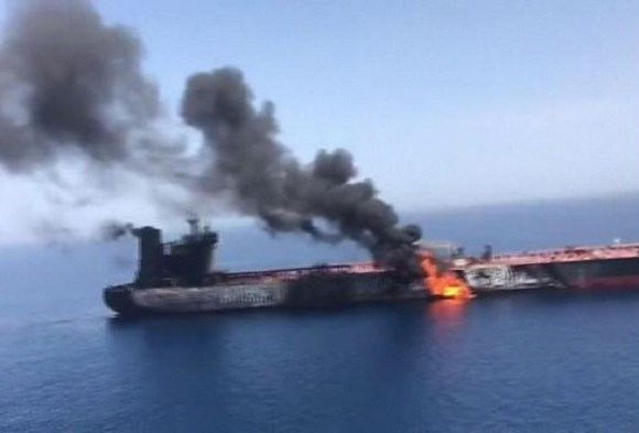 Iranian TV footage shows a burning tanker