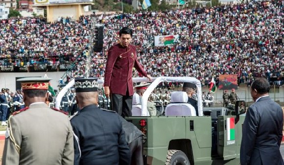 President Andry Rajoelina took part in celebrations at the stadium earlier in the day
