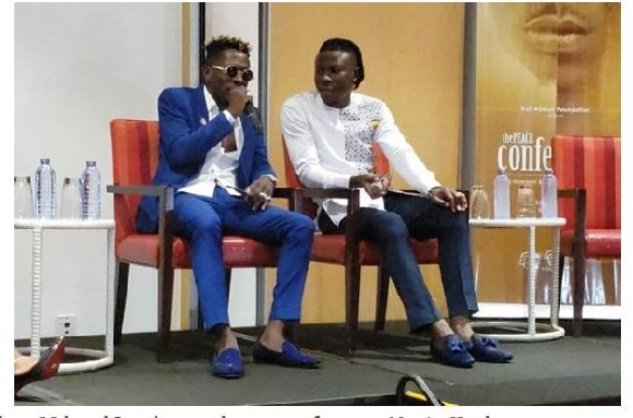 Shatta Wale and Stonebwoy at the press conference at Marriot Hotel