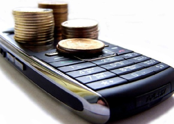 Mobile phone with coins