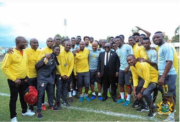 President Akufo-Addo with the Black Stars team