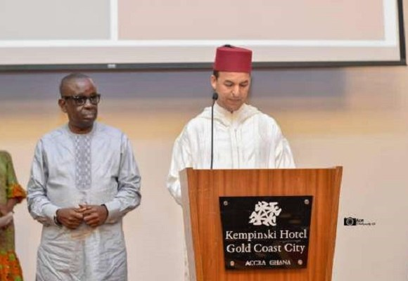 Abdelouahed Bekki, Moroccan Charge' d'Affairs in Ghana(right) making the announcement