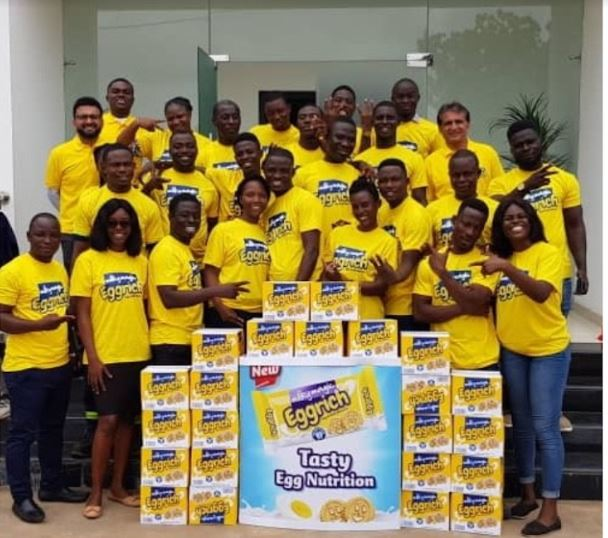 Excited Staff of Nutrifoods at an 'Eggrich' unveiling event in Accra.