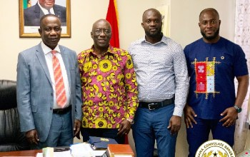 Executives of Student Loan Trust Fund with Prof. Samuel Amoako