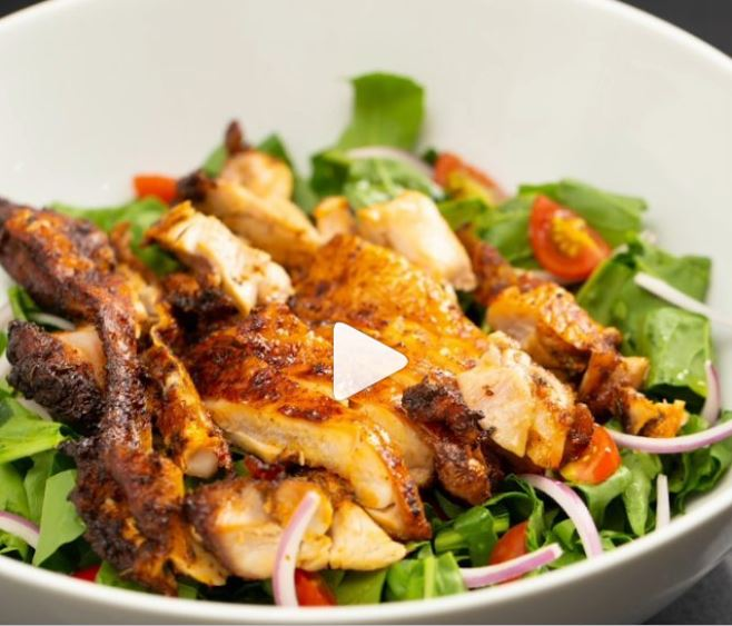 Baked Chicken on salad