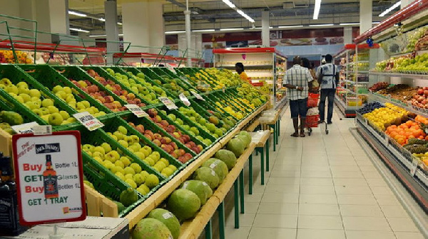 Fruits and vegetables on shelves