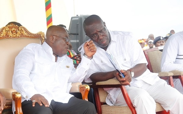 President Akufo-Addo in a chat with TUC's Secretary-General Dr Yaw Baah