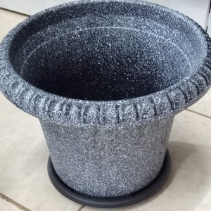 Grey plastic planter. Beautiful plant pots for your home and office.