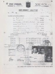 Salvoconducto emitido por el estado de Israel a nombre de Eugenia Czerniak e hijos, 6 de enero de 1950