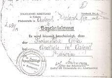 Cédula de prisionera de las fuerzas de ocpación nazis en el gueto de Antopol a nombre de Giffa Czerniak, madre de Abraham, Pinhas y Jeremías. Giffa fue fusilada por los nazis, al igual que dos de sus hijas y sus nietas.