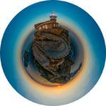 Fotografia 360 pequeno planeta do faro das illas Cíes