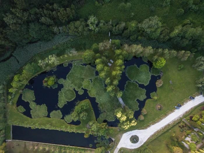 foto aérea con drone lago Pazo do Tambre