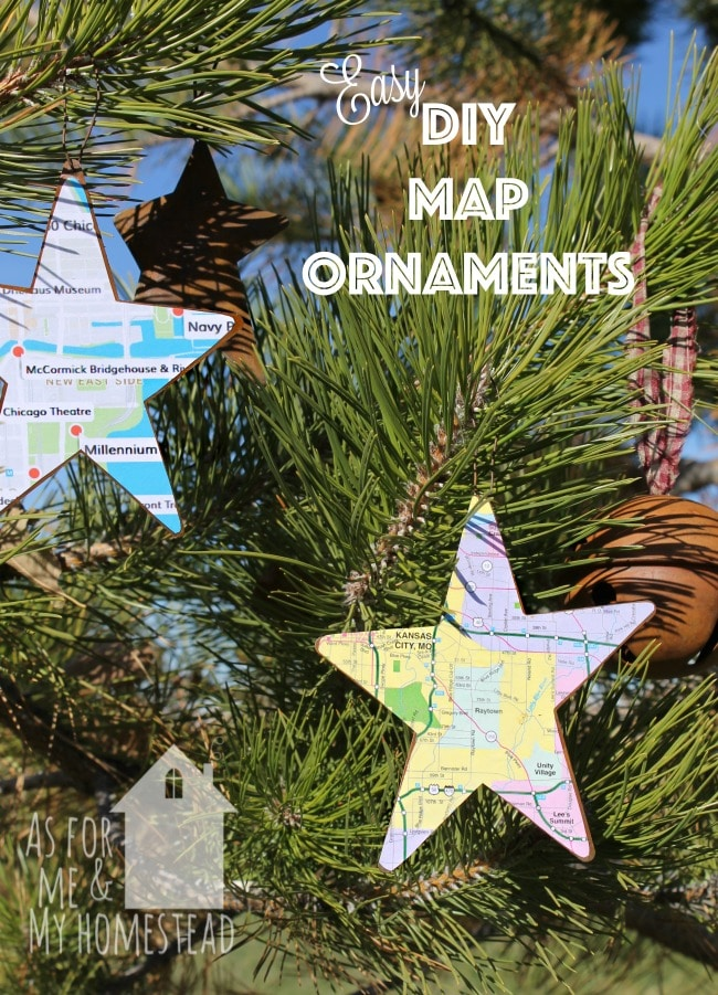 Easy DIY Map Ornaments are a great way to commemorate a trip, or remember a favorite place you've lived!