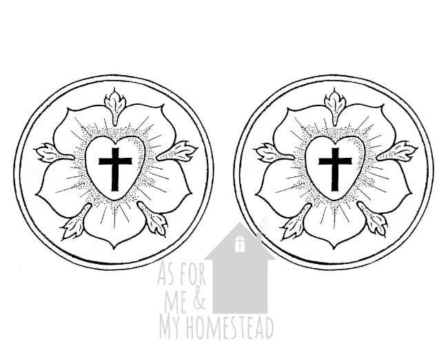 Luther Rose printable for Reformation Party printing press station