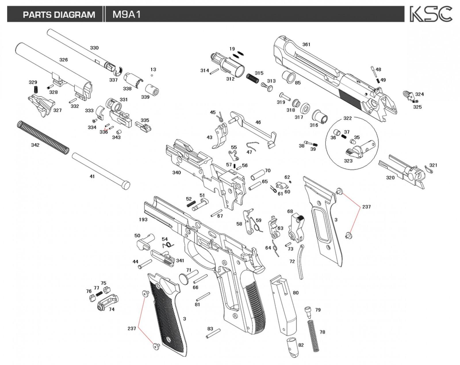 Ksc M9 Gbb Cylinder Part No 312 Ksc M92 312