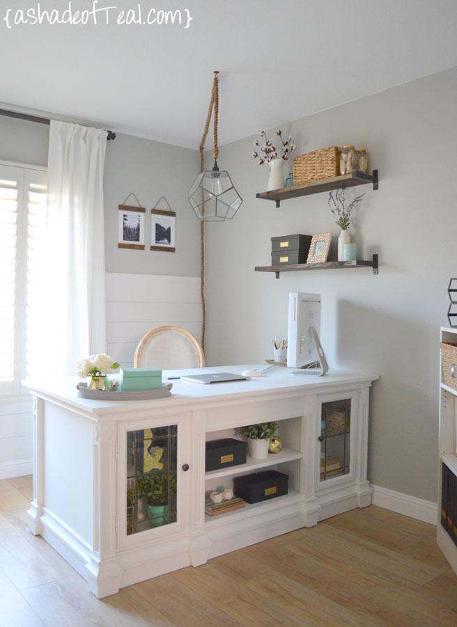 Rustic DIY Bookshelf With IKEA Ekby Brackets A Shade Of Teal