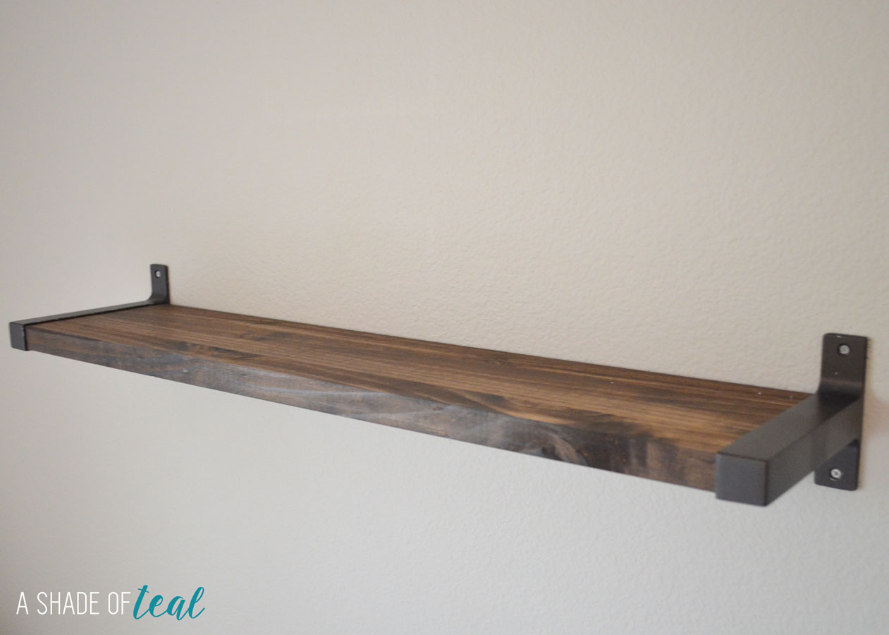 rustic diy bookshelf with ikea ekby brackets. Black Bedroom Furniture Sets. Home Design Ideas