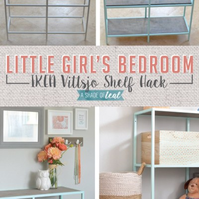 Big Girl Room, IKEA Vittsjo hack- Mint Bookshelf