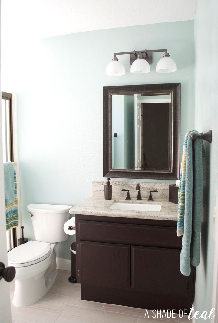 Rustic bathroom refresh source list for Teal and gray bathroom ideas