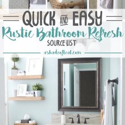 Rustic Bathroom Refresh, Source List