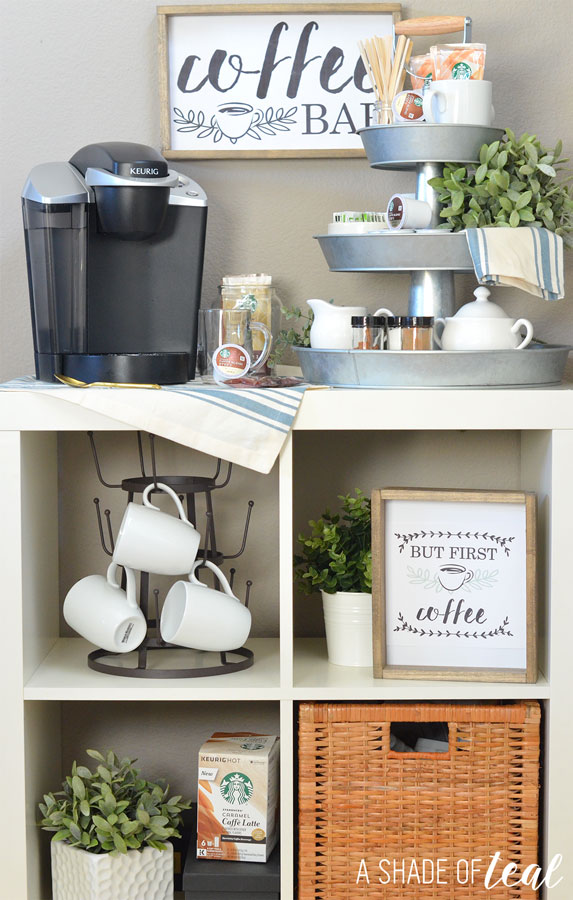 How to setup a 3 tier coffee bar plus free printables for How to set up a mini bar at home