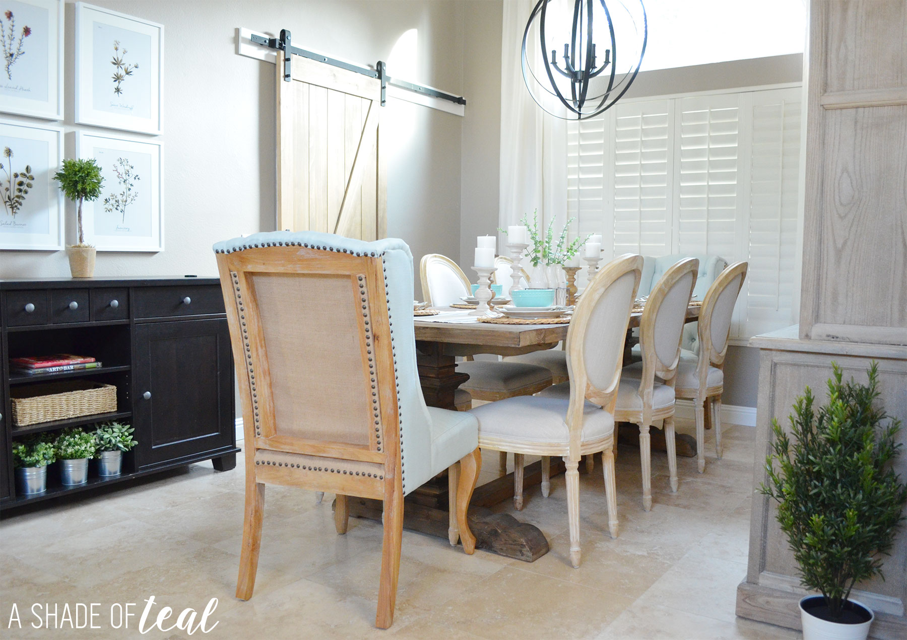 modern rustic dining & living room // orc: dining room reveal