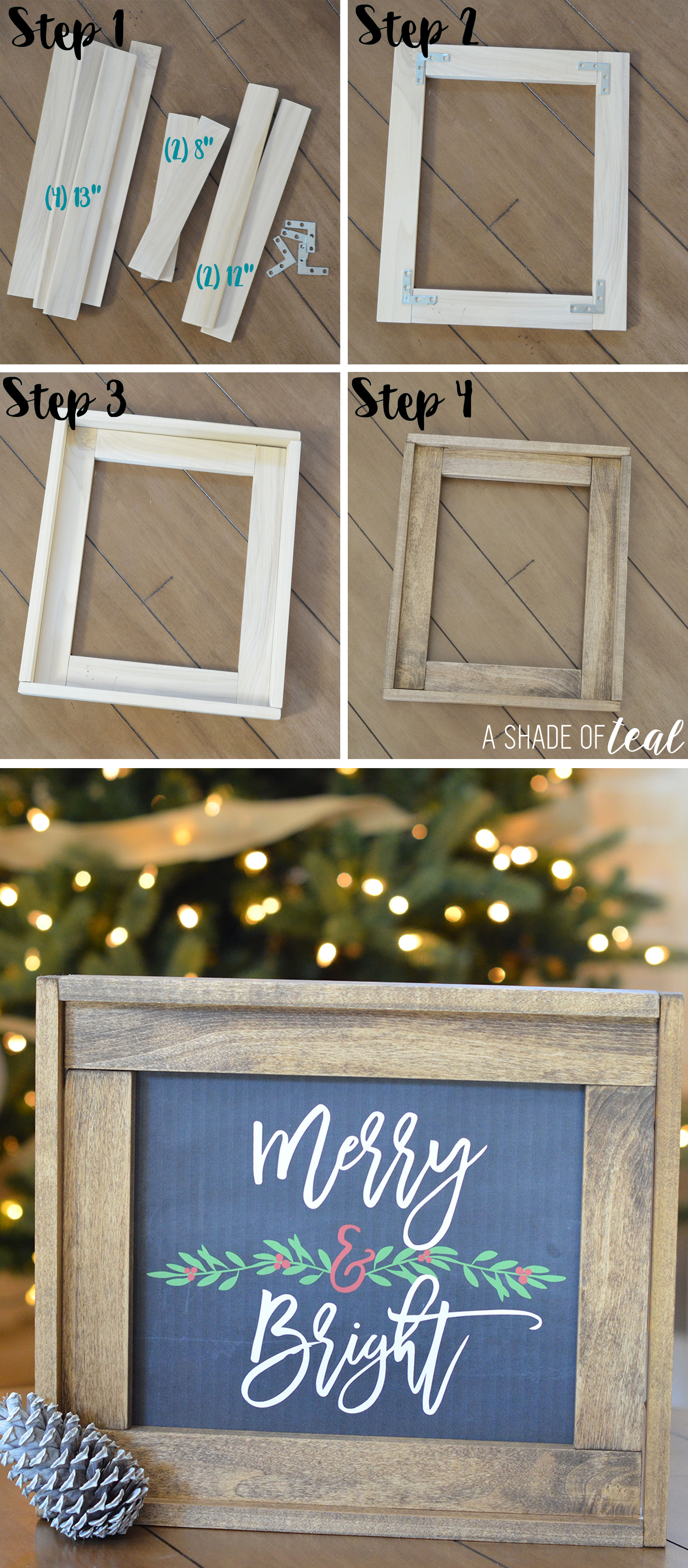 Christmas mantle update how to make a rustic wood frame step jeuxipadfo Images