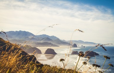 View of Cannon Beach from Ecola State Park, Oregon.