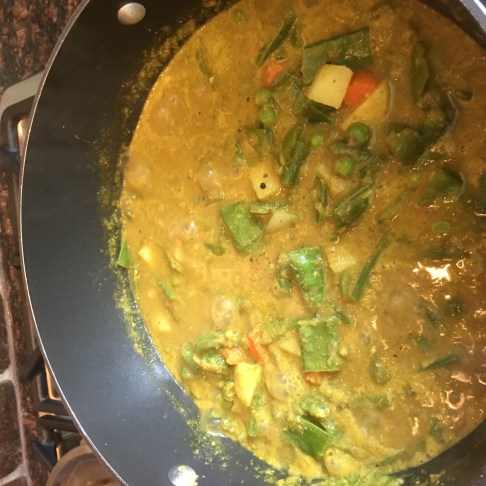Vegetable Saagu - with green beans, carrots, few potatoes, snow peas, green peppers, green peas and masala! Lots of vegetables like I like