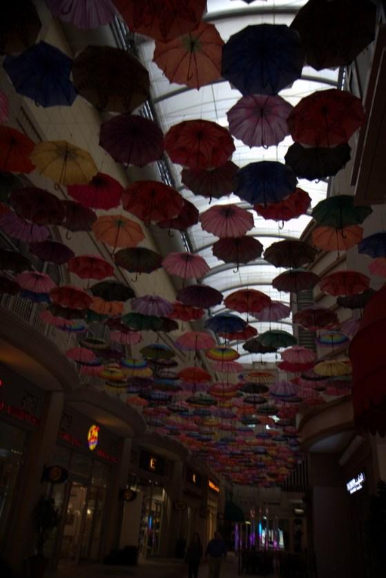 Inside the Dubai Mall, a roof top of umbrellas