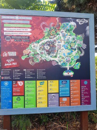 Map of theme park Thorpe Park Chertsey, London