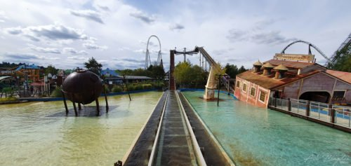 Roller coaster and blue sky