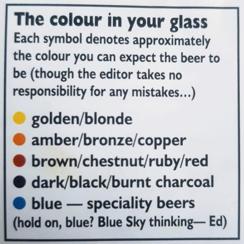 2018 Colour key for beer types