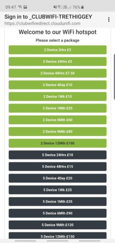 Trethiggey Holiday Park Wifi Prices