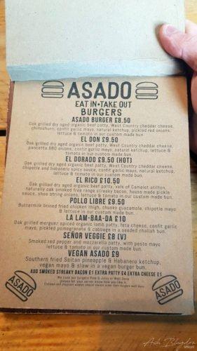 Bristol Asado menu