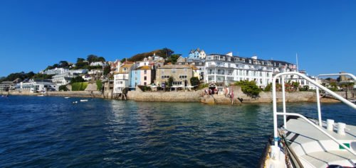 View of Victorian houses from the ferry Salcombe