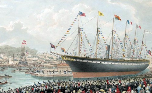 The launch of Brunel's SS Great Britain in 1843